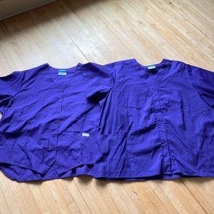 bundle of purple scrub tops